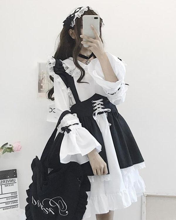 Halloween Gothic Maid Dress Cosplay Lolita Knee Length Dress