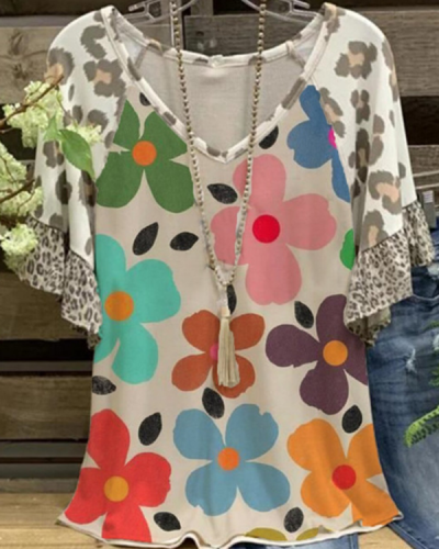 Floral-Print Shift Casual Shirts & Tops