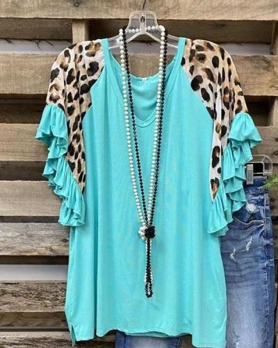 Leopard V Neck Cotton-Blend Shirts & Tops