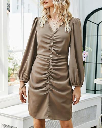 Long Sleeve V-Neck Pleated Above Knee Fashion Women's Dress
