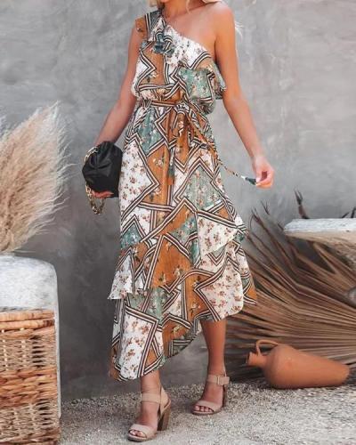 High-end Plus Size Indie Folk Chiffon Long Dress