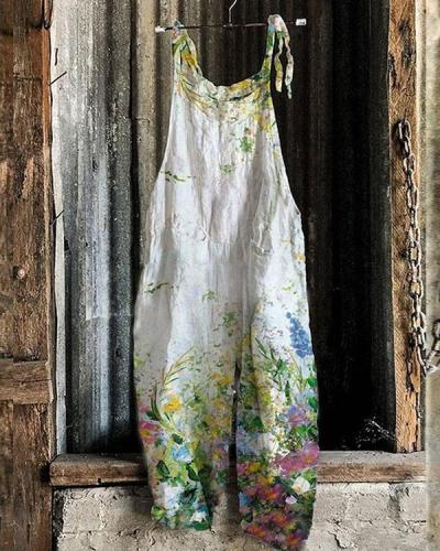 Fashion Oil Painting Style Floral Women Casual Linen Jumpsuits
