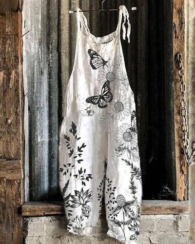 Women Butterfly Flower Sketch Print Linen Jumpsuits