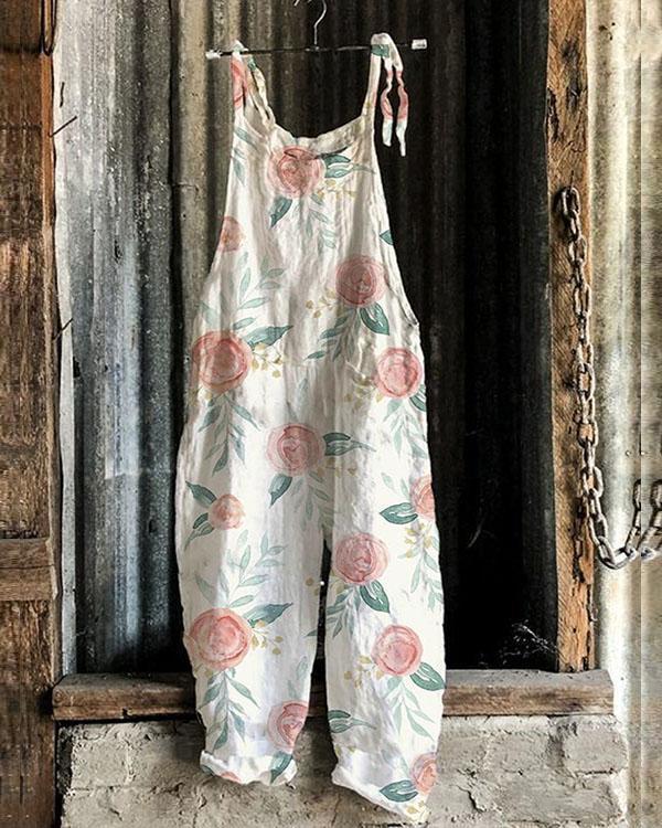Fashion Linen Jumpsuits Flower Print Rompers
