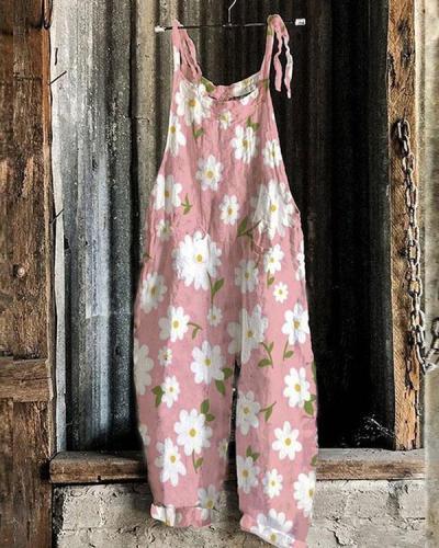 Women Lace up Strap Multiflora Women Linen Jumpsuits