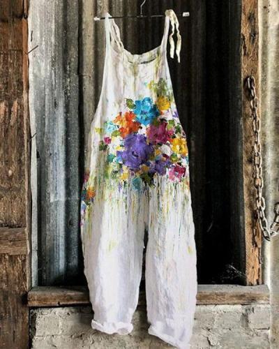 Colorful Flower Print Women Linen Jumpsuits
