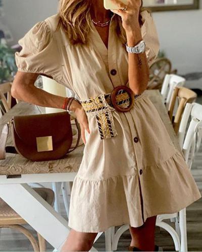 Womens Fashion Shirt Dress With Belt