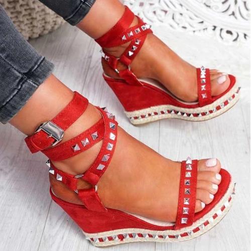 Women's Red Wedge Rock Studs Sandals