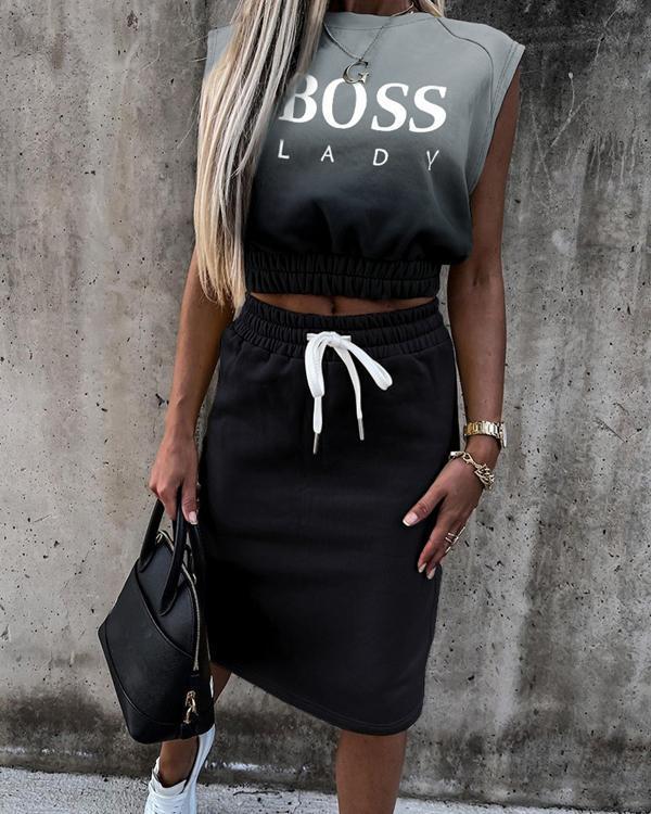 Anchor Print Sleeveless Top & Drawstring Skirt Set