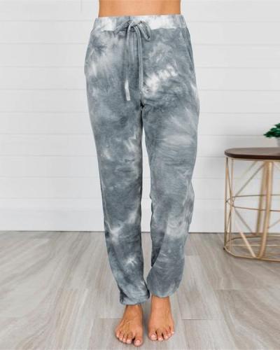 Tie-Dye Printed Pocket Pants Lantern Casual Pants