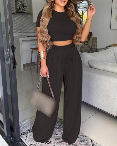Basic Plain Crop Top& Plain Wide Leg Pants Set