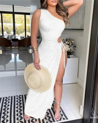 Sleeveless Solid Color Summer One Shoulder Ribbed Dress