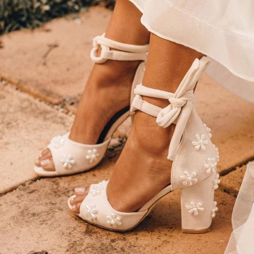 Ladies Pearl Shoes Beaded Pearl Wedding Shoes Block Heel Bridal Shoes Melody Peep Toe Heels