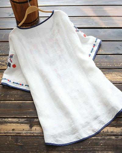 Round Neck Linen Embroidered Top