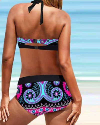 Plus Size Vintage Floral Print Lace Up Halter V-Neck Sexy Bikini Set