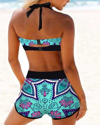 Floral Print Lace Up Halter V-Neck Casual Bikinis Swimsuits