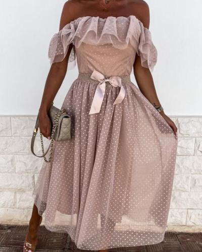 Bow Tie Off Shoulder Ruffles Maxi Dress