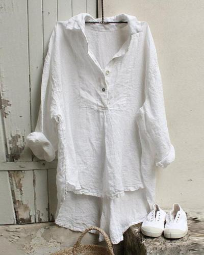 V-neck Loose Cotton And Linen Casual Shirt