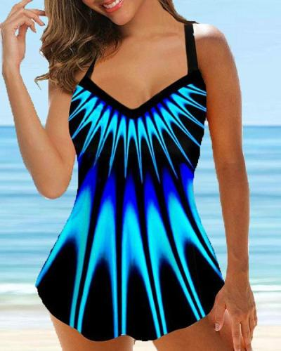 Plus Size Colorful Geometry Print Tankinis 2-Piece Swimwear