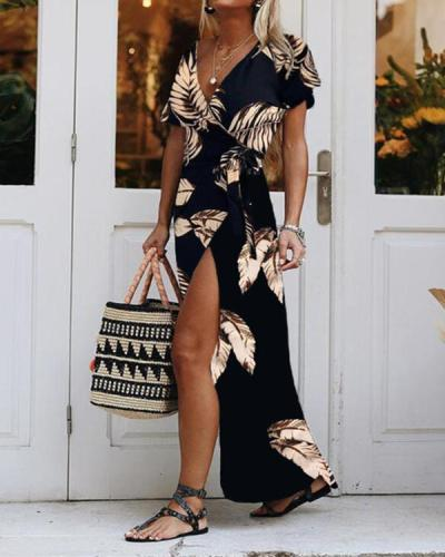 Print Short Sleevelss Wrap Maxi Dress