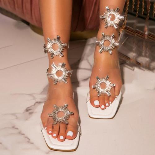 Womens rhinestone transparent buckle sandals
