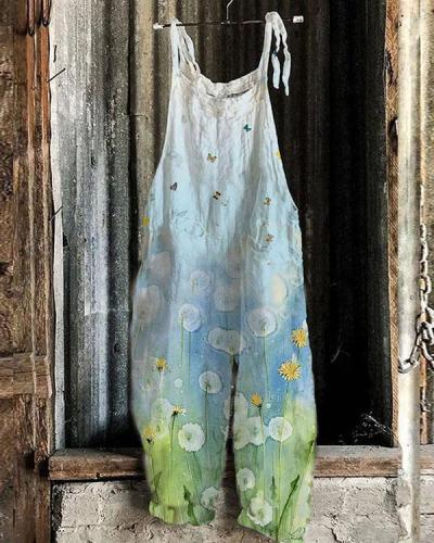 Women Blue Ombre Dandelions Comfy Linen Jumpsuits