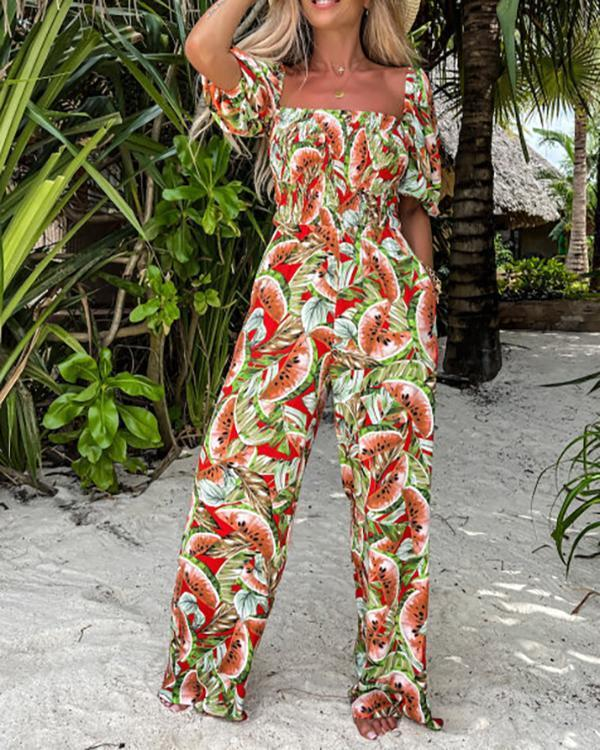 Casual Comfortable Printed Wide-leg Jumpsuit
