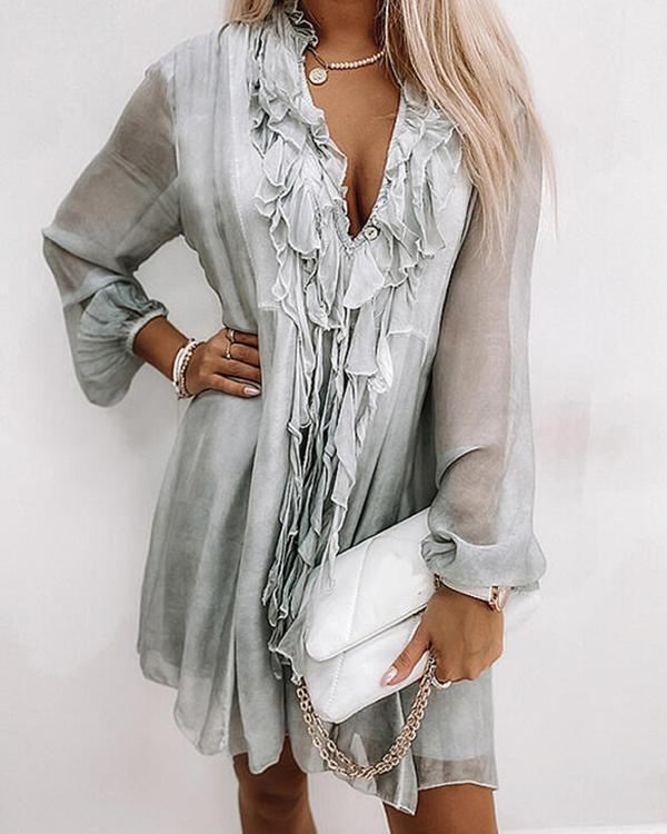 Fashion Chiffon Lace Neckline Dress