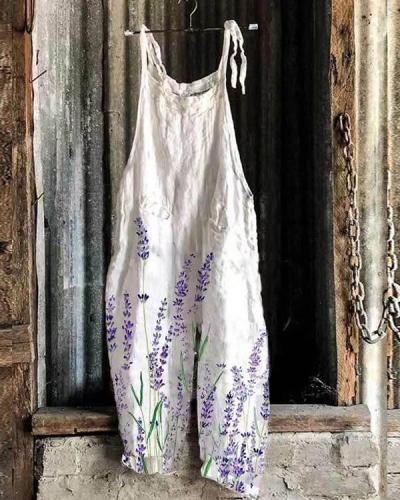 Women Lavender Print Comfy Linen Jumpsuits
