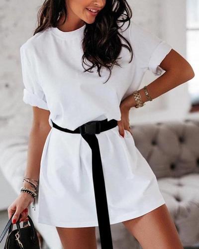 Fashion Casual T-shirt Dress With Belt