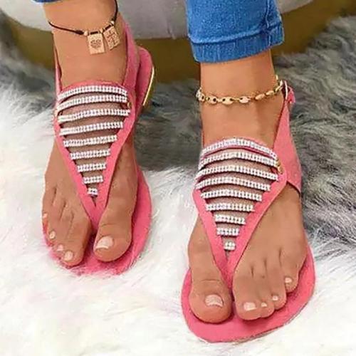 Women Casual Fashion Cloth Rhinestone Adjusting Buckle Beach Holiday Sandals