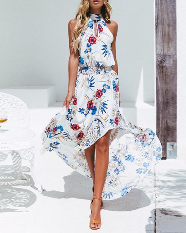 Women Fashion Printed Sleeveless Maxi Dress