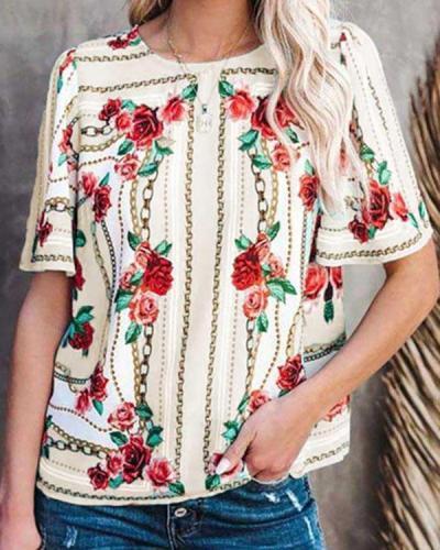 Fashion Round Neck Print T-shirt