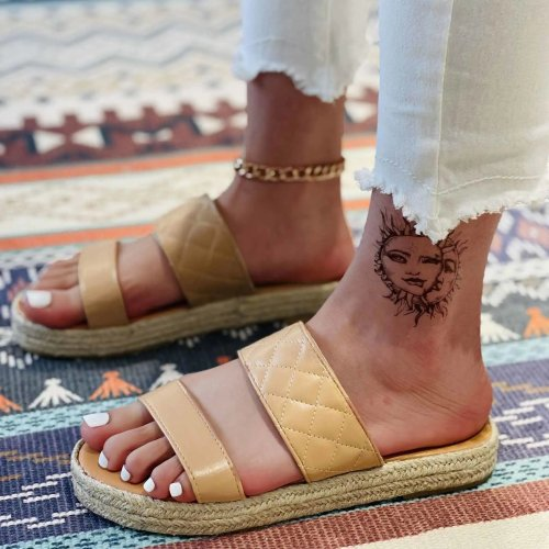 Women's Fashion Woven Bottom Diamond Comfortable Flat Slippers