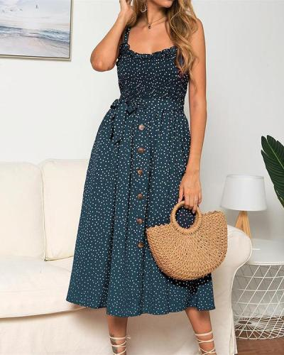 Strap Ruffled Polka Dot Print Dress