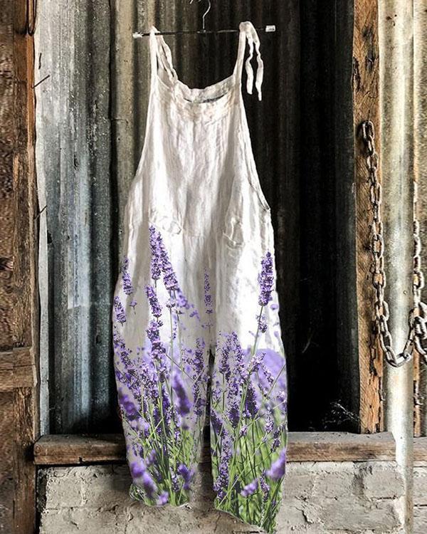 Women Romantic Lavender Print Linen Jumpsuits