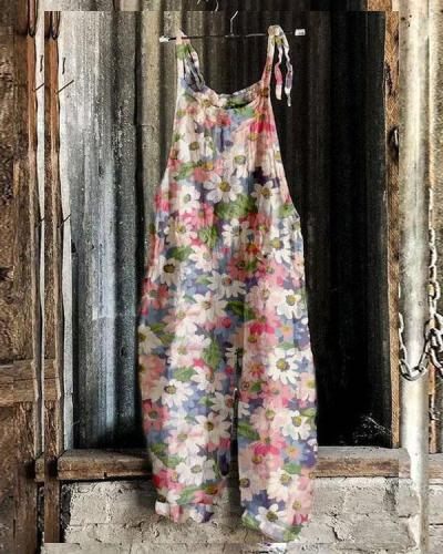 Women Pink Multifloral Comfy Linen Jumpsuits