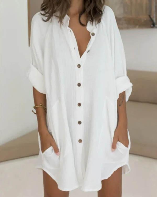 Linen Cotton Loose Button Down Shirt Dress Beach Cover Ups