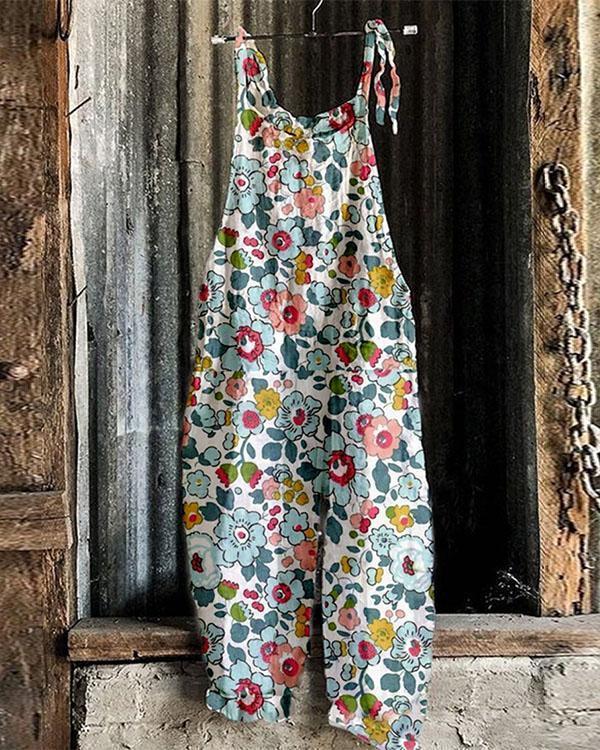 Fashion Blue Flower Print Linen Jumpsuits