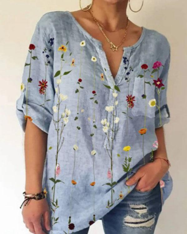 Women's Summer Floral Cotton Shirt&Blouse with Pocket