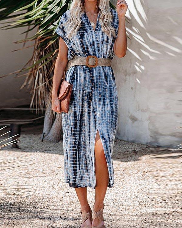 Holiday Gradient Striped Print V-neck Slit Midi Dress