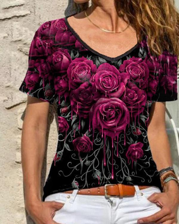 Rose Printed V-neck Lace Trim Casual T-shirt Top