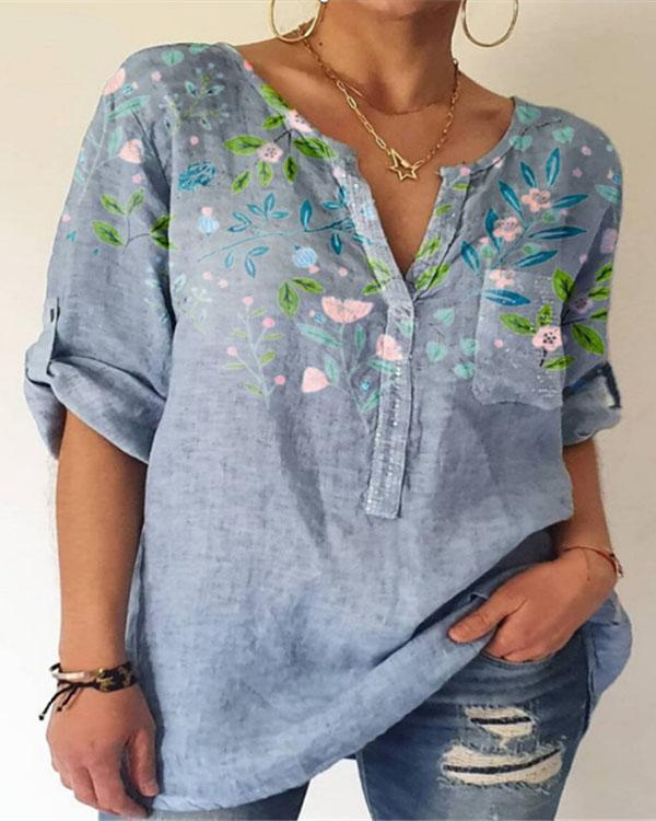 Women's Summer Printed Cotton V Neck Shirt&Blouse