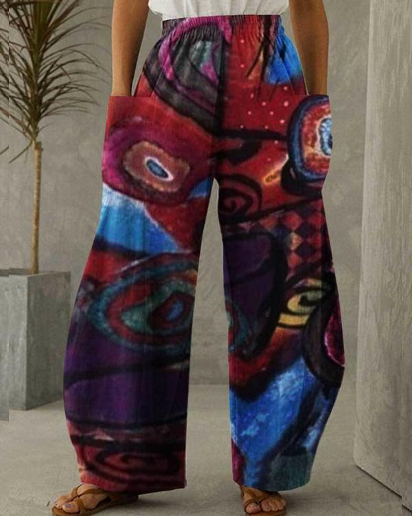 Women Cotton Linen Pocket Abstract Art Printing Pants