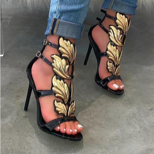 Golden Wing Strap Stiletto Heels