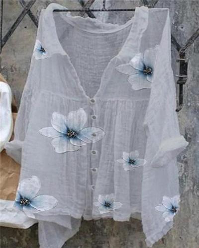 Women's Casual Oversize Floral Line Cotton Shirt&Blouse