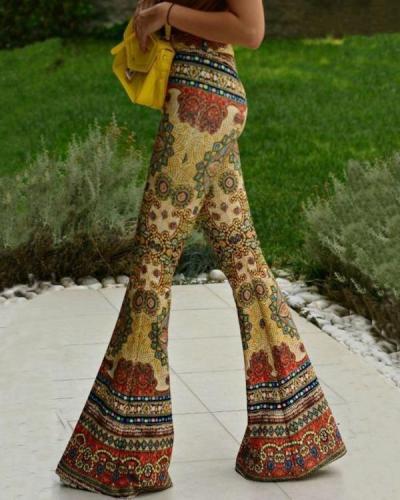 Long Flare Pants Ethnic Style Vintage Print Boho Pants