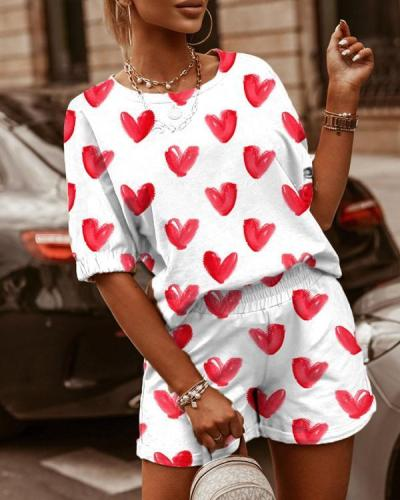 Casual Printed Round Neck Short Sleeve & Shorts Two-Piece Set