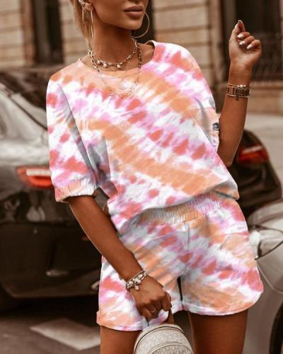 Two-Piece Leisure Tie-Dye Printing Loungewear