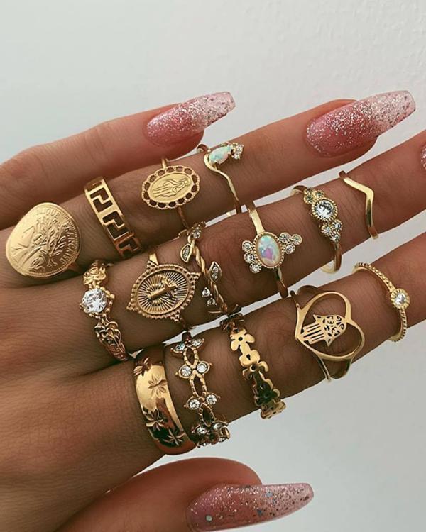 Rhinestone Gold Ring Set